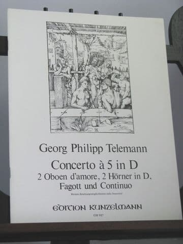 Telemann G P - Concerto a 5 in D for 2 Oboe d'Amore (or Clarinets), 2 Horns, Bassoon & Continuo